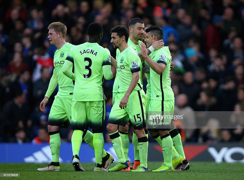 Sergio Aguero of Manchester City celebrates with team mates after scoring his third goal during the Barclays Premier League match between Chelsea and Manchester City at Stamford Bridge on April 16, 2016 in London, England.