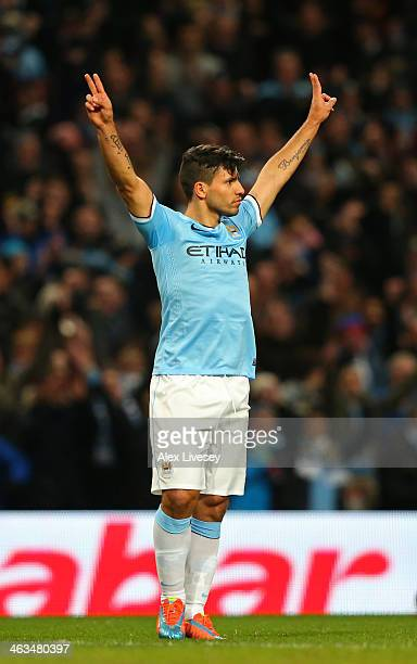 Sergio Aguero of Manchester City celebratesafter scoring his team's fourth goal during the Barclays Premier League match between Manchester City and...