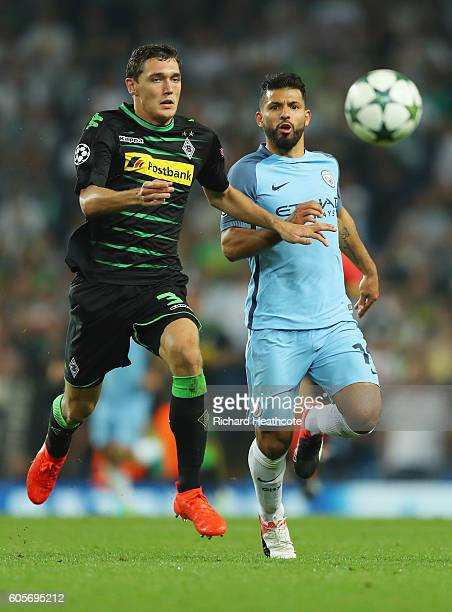 Sergio Aguero of Manchester City chases down Andreas Christensen of Borussia Moenchengladbach during the UEFA Champions League match between...