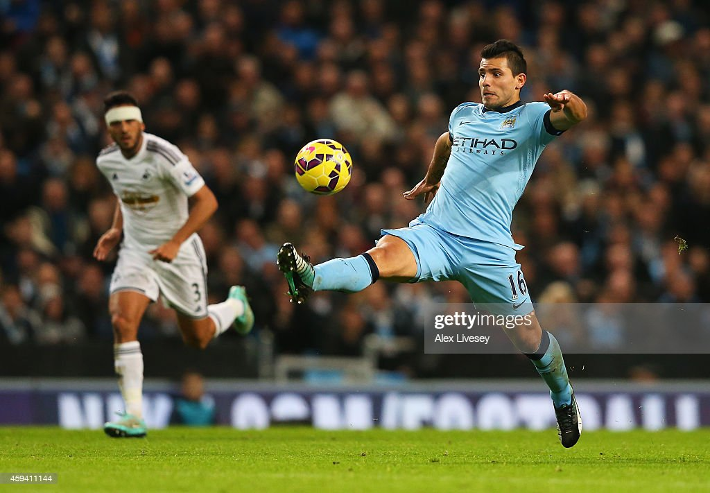 Sergio Aguero of Manchester City controls the ball during the Barclays Premier League match between Manchester City and Swansea City at Etihad Stadium on November 22, 2014 in Manchester, England.