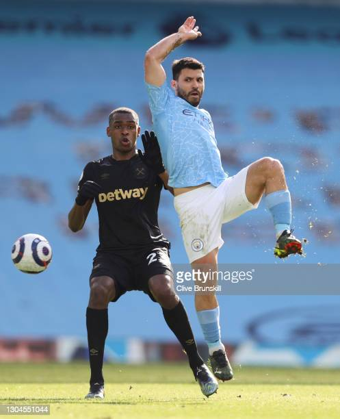 Sergio Aguero of Manchester City controls the ball during the Premier League match between Manchester City and West Ham United at Etihad Stadium on...