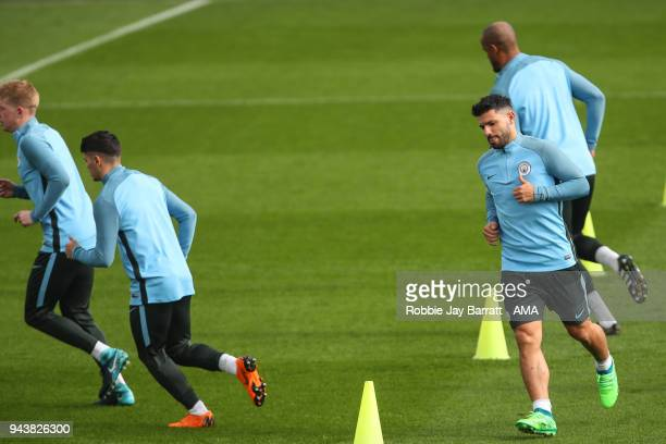 Sergio Aguero of Manchester City during a Press Conference and Training Session at Manchester City Football Academy on April 9 2018 in Manchester...