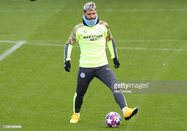 Sergio Aguero of Manchester City during a training session ahead of their UEFA Champions League round of 16 first leg match against Real Madrid at...