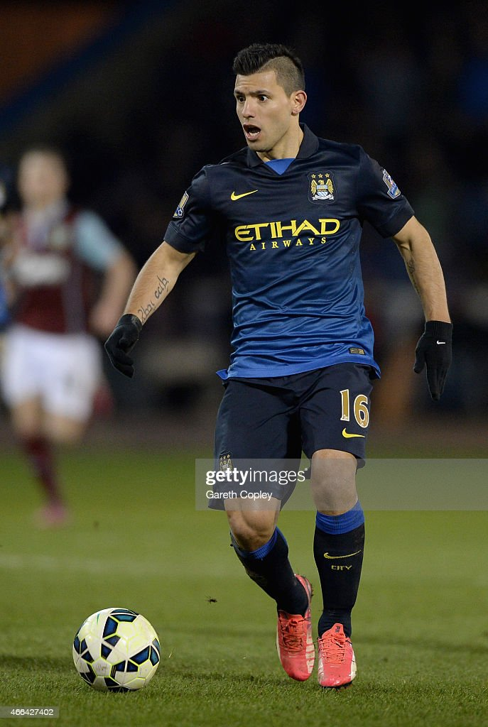 Sergio Aguero of Manchester City during the Barclays Premier League match between Burnley and Manchester City at Turf Moor on March 14, 2015 in Burnley, England.