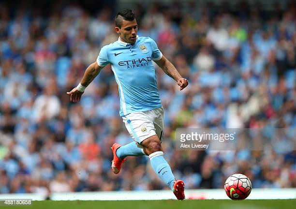 Sergio Aguero of Manchester City during the Barclays Premier League match between Manchester City and Watford at Etihad Stadium on August 29 2015 in...