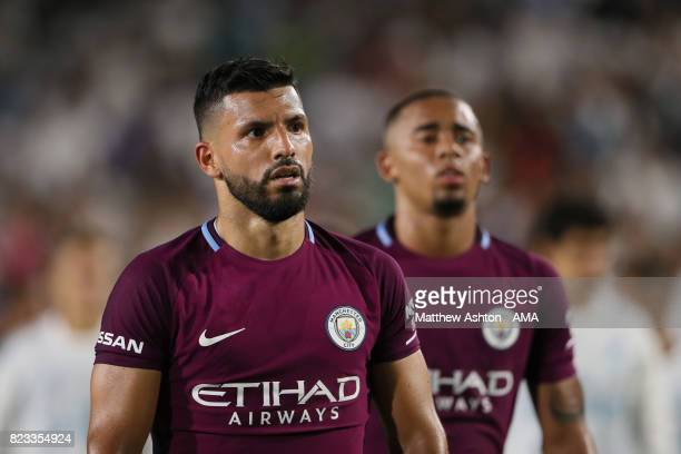 Sergio Aguero of Manchester City during the International Champions Cup 2017 match between Manchester City and Real Madrid at Los Angeles Memorial...