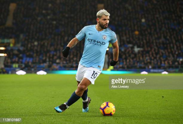 Sergio Aguero of Manchester City during the Premier League match between Everton FC and Manchester City at Goodison Park on February 06 2019 in...
