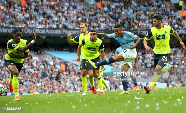 Sergio Aguero of Manchester City during the Premier League match between Manchester City and Huddersfield Town at Etihad Stadium on August 19 2018 in...