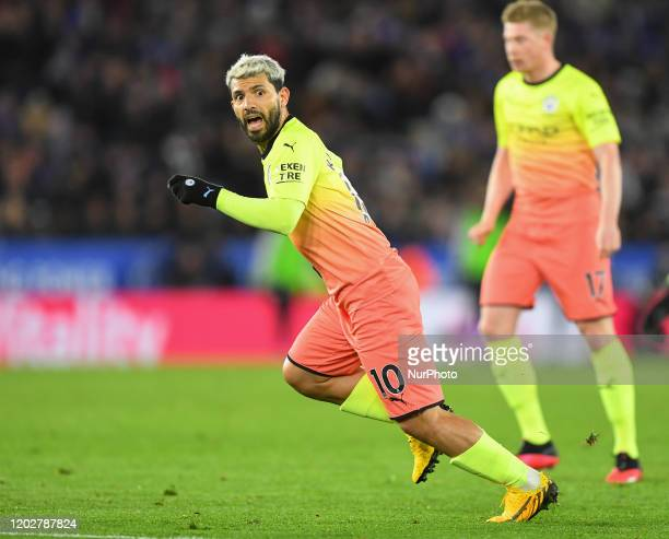 Sergio Aguero of Manchester City during the Premier League match between Leicester City and Manchester City at the King Power Stadium Leicester on...