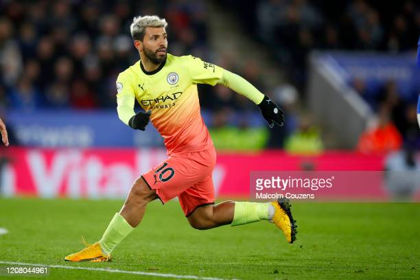 Sergio Aguero of Manchester City during the Premier League match between Leicester City and Manchester City at The King Power Stadium on February 22...