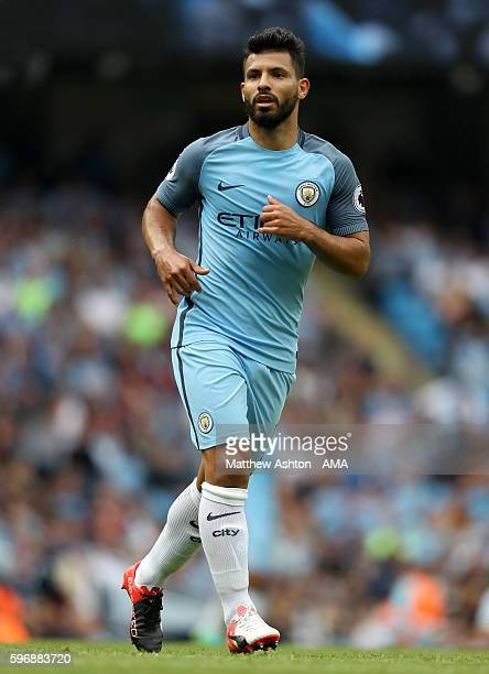 Sergio Aguero of Manchester City during the Premier League match between Manchester City and West Ham United at Etihad Stadium on August 28 2016 in...