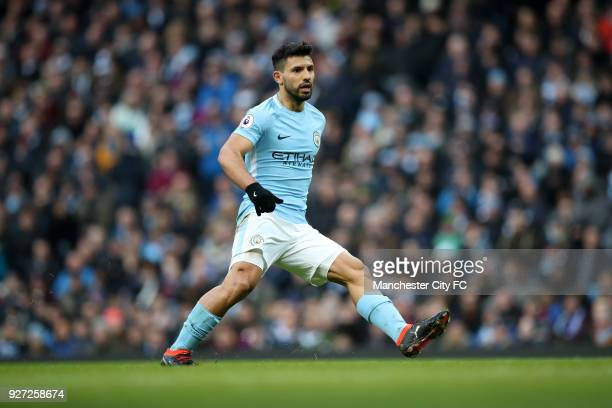 Sergio Aguero of Manchester City during the Premier League match between Manchester City and Chelsea at Etihad Stadium on March 4 2018 in Manchester...