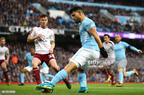 Sergio Aguero of Manchester City during the The Emirates FA Cup Third Round match between Manchester City and Burnley at Etihad Stadium on January 6...