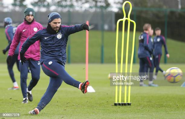 Sergio Aguero of Manchester City during the training session at Manchester City Football Academy on January 18 2018 in Manchester England
