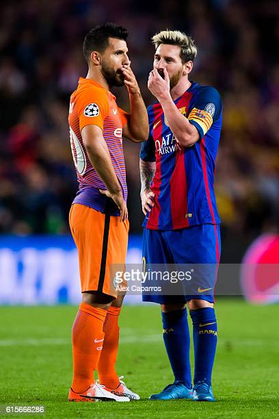 Sergio Aguero of Manchester City FC speaks with Lionel Messi of FC Barcelona during the UEFA Champions League group C match between FC Barcelona and...