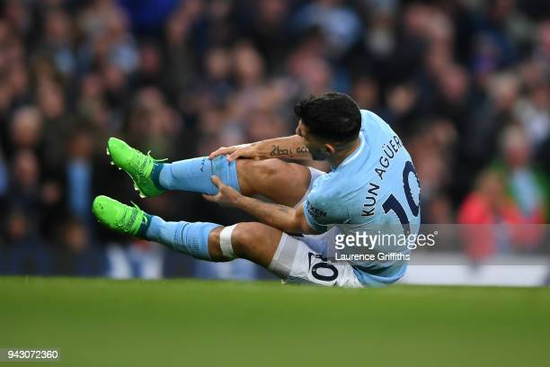 Sergio Aguero of Manchester City goes to ground during the Premier League match between Manchester City and Manchester United at Etihad Stadium on...