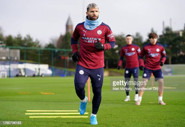 Sergio Aguero of Manchester City in action during a training session at Manchester City Football Academy on December 11, 2020 in Manchester, England.