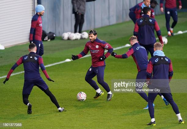 Sergio Aguero of Manchester City in action during a training session at Manchester City Football Academy on February 09, 2021 in Manchester, England.
