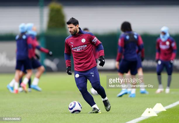 Sergio Aguero of Manchester City in action during a training session at Manchester City Football Academy on March 05, 2021 in Manchester, England.