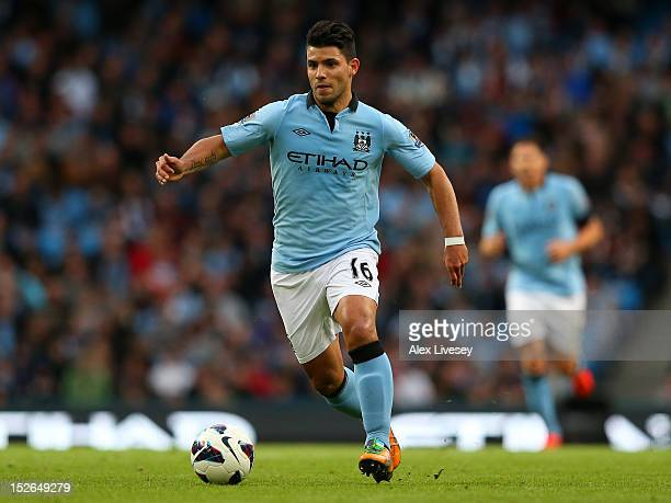 Sergio Aguero of Manchester City in action during the Barclays Premier League match between Manchester City and Arsenal at Etihad Stadium on...