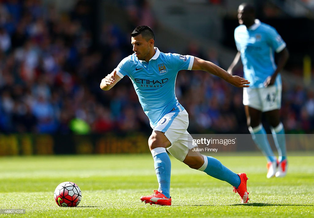 Sergio Aguero of Manchester City in action during the Barclays Premier League match between Crystal Palace and Manchester City at Selhurst Park on September 12, 2015 in London, United Kingdom.