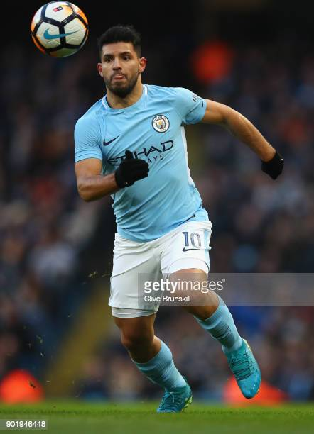 Sergio Aguero of Manchester City in action during The Emirates FA Cup Third Round match between Manchester City and Burnley at Etihad Stadium on...