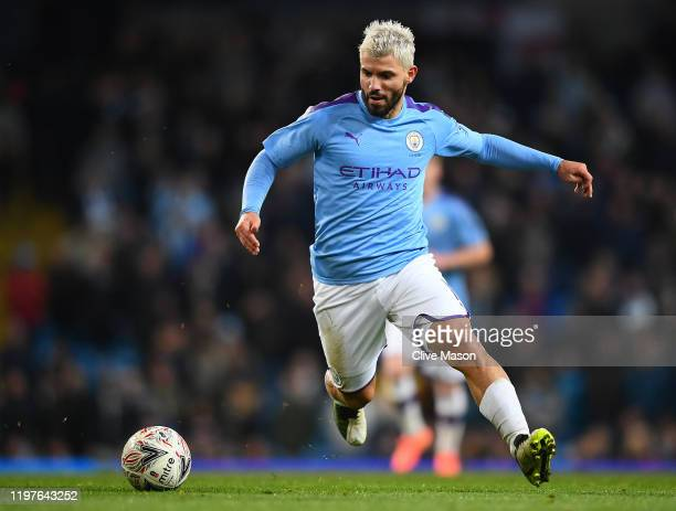 Sergio Aguero of Manchester City in action during the FA Cup Third Round match between Manchester City and Port Vale at Etihad Stadium on January 04,...