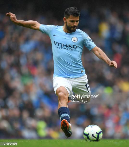 Sergio Aguero of Manchester City in action during the Premier League match between Manchester City and Huddersfield Town at Etihad Stadium on August...