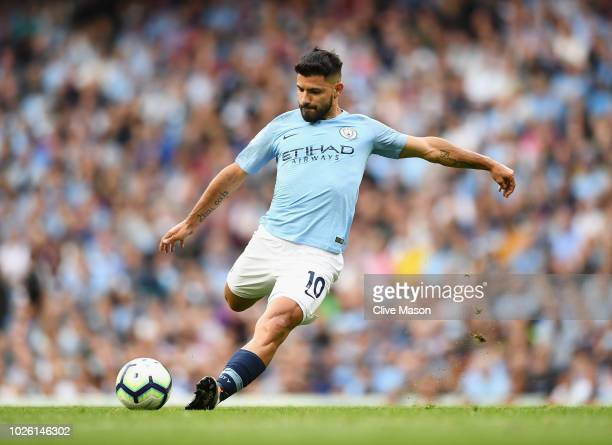 Sergio Aguero of Manchester City in action during the Premier League match between Manchester City and Newcastle United at Etihad Stadium on...