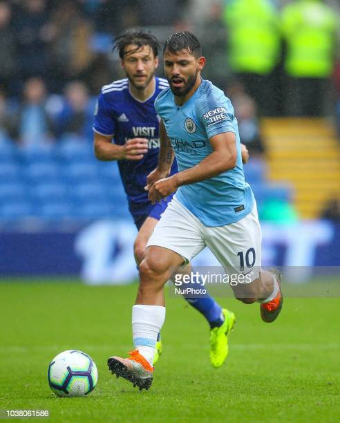 Sergio Aguero of Manchester City in action during the Premier League match between Cardiff City and Manchester City at Cardiff City Stadium Cardiff...