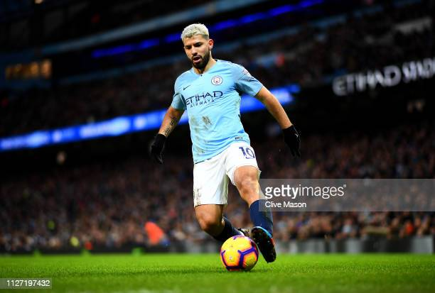 Sergio Aguero of Manchester City in action during the Premier League match between Manchester City and Arsenal FC at Etihad Stadium on February 03...