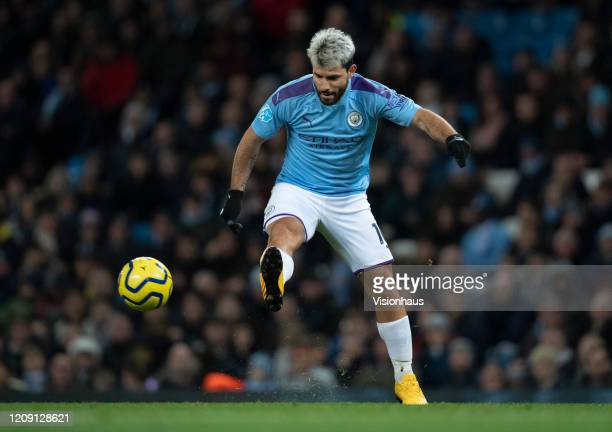 Sergio Aguero of Manchester City in action during the Premier League match between Manchester City and West Ham United at Etihad Stadium on February...