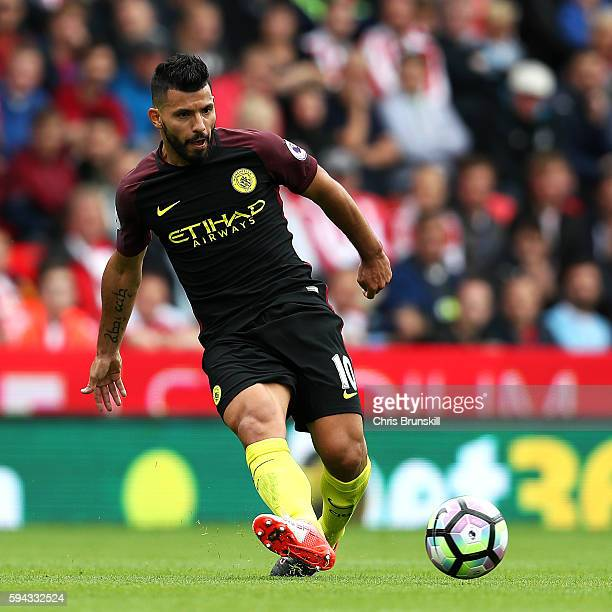 Sergio Aguero of Manchester City in action during the Premier League match between Stoke City and Manchester City on August 20 2016 in Stoke on Trent...