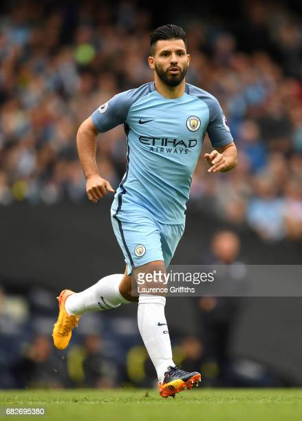 Sergio Aguero of Manchester City in action during the Premier League match between Manchester City and Leicester City at Etihad Stadium on May 13...