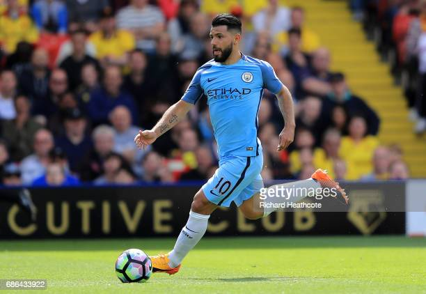 Sergio Aguero of Manchester City in action during the Premier League match between Watford and Manchester City at Vicarage Road on May 21 2017 in...
