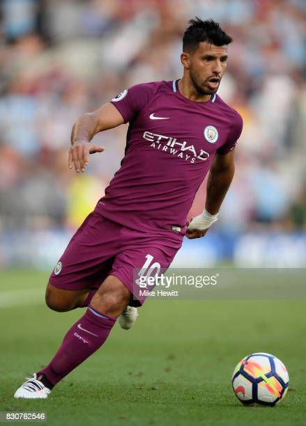 Sergio Aguero of Manchester City in action during the Premier League match between Brighton and Hove Albion and Manchester City at the Amex Stadium...