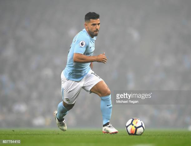 Sergio Aguero of Manchester City in action during the Premier League match between Manchester City and Everton at Etihad Stadium on August 21 2017 in...