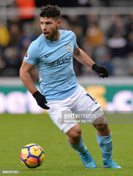 Sergio Aguero of Manchester City in action during the Premier League match between Newcastle United and Manchester City at St James Park on December...