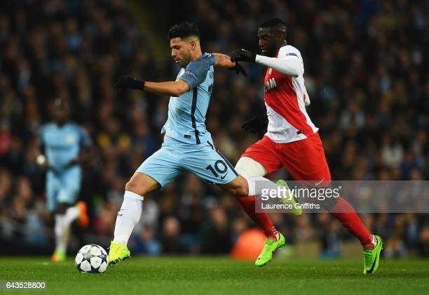 Sergio Aguero of Manchester City is chased by Tiemoue Bakayoko of AS Monaco during the UEFA Champions League Round of 16 first leg match between...
