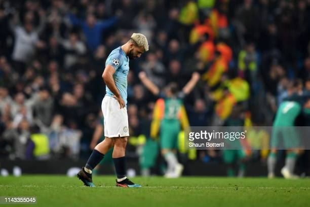 Sergio Aguero of Manchester City is dejected after the final whistle the UEFA Champions League Quarter Final second leg match between Manchester City...