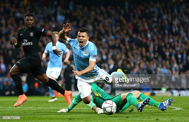 Sergio Aguero of Manchester City is fouled by goalkeeper Kevin Trapp of Paris SaintGermain for a penalty during the UEFA Champions League quarter...