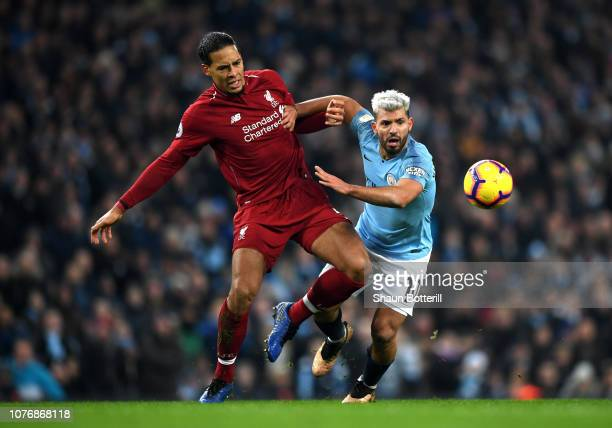 Sergio Aguero of Manchester City is fouled by Virgil van Dijk of Liverpool during the Premier League match between Manchester City and Liverpool FC...