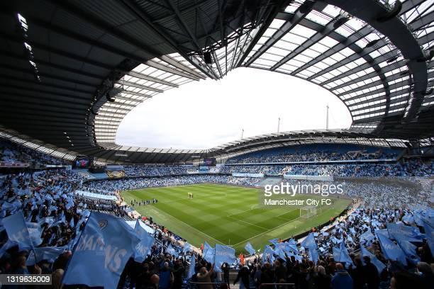 Sergio Aguero of Manchester City is given a guard of honour in his last home appearance during the Premier League match between Manchester City and...