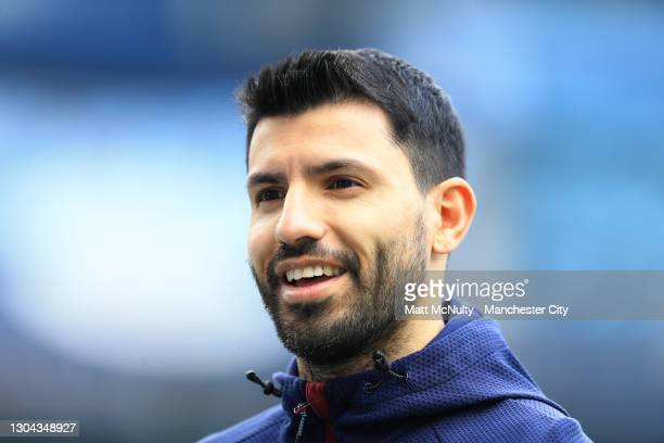 Sergio Aguero of Manchester City is interviewed prior to the Premier League match between Manchester City and West Ham United at Etihad Stadium on...