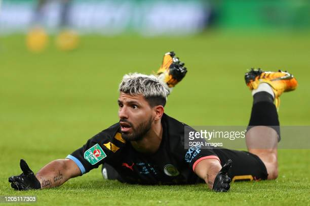 Sergio Aguero of Manchester City is seen during the Carabao Cup Final match between Aston Villa and Manchester City at Wembley Stadium