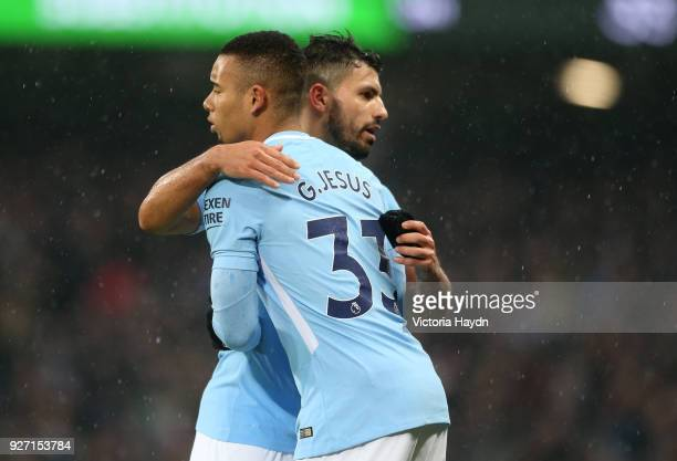 Sergio Aguero of Manchester City is substituted for Gabriel Jesus during the Premier League match between Manchester City and Chelsea at Etihad...