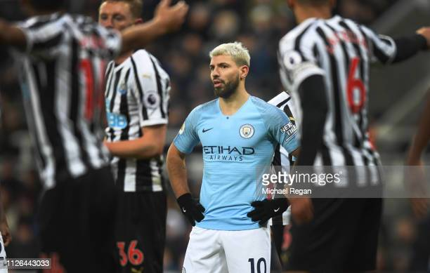 Sergio Aguero of Manchester City looks dejected during the Premier League match between Newcastle United and Manchester City at St James Park on...