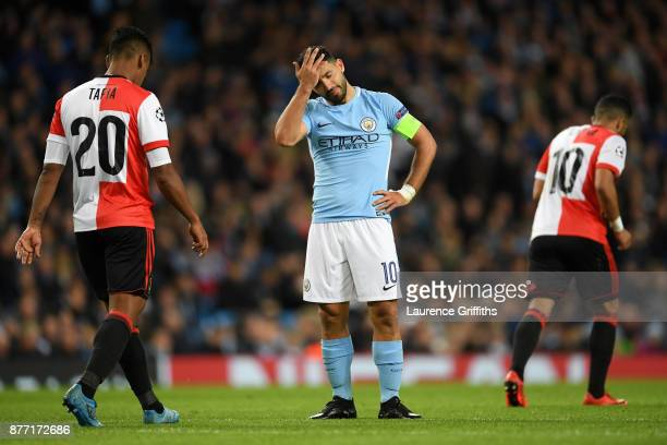 Sergio Aguero of Manchester City looks dejected during the UEFA Champions League group F match between Manchester City and Feyenoord at Etihad...