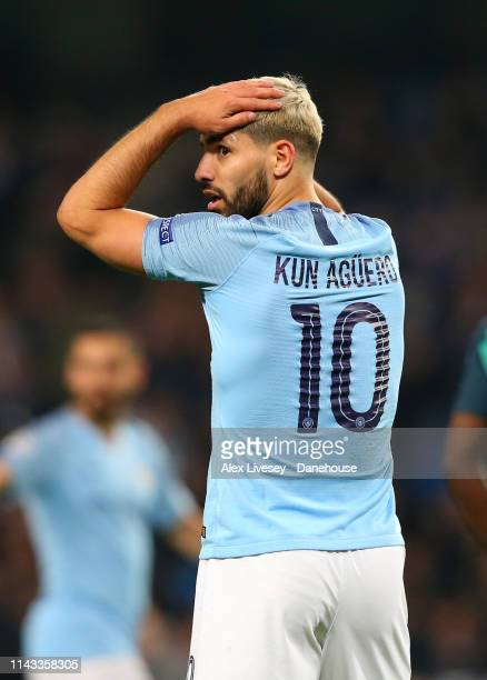 Sergio Aguero of Manchester City looks dejected during the UEFA Champions League Quarter Final second leg match between Manchester City and Tottenham...