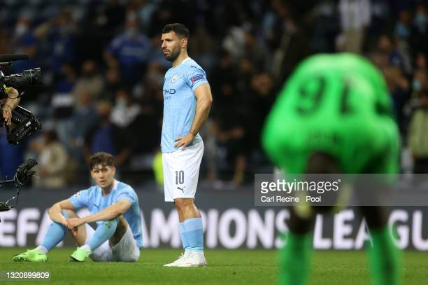 Sergio Aguero of Manchester City looks dejected following their side's defeat in the UEFA Champions League Final between Manchester City and Chelsea...